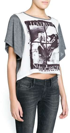 MANGO Outlet No Regrets Cropped T-Shirt