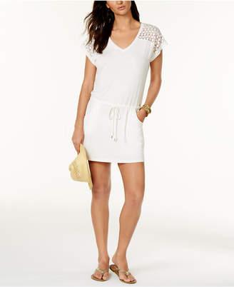 Calvin Klein Crochet-Shoulder Tunic Cover Up Women Swimsuit