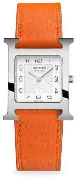 Heure H, Stainless Steel & Leather Strap Watch