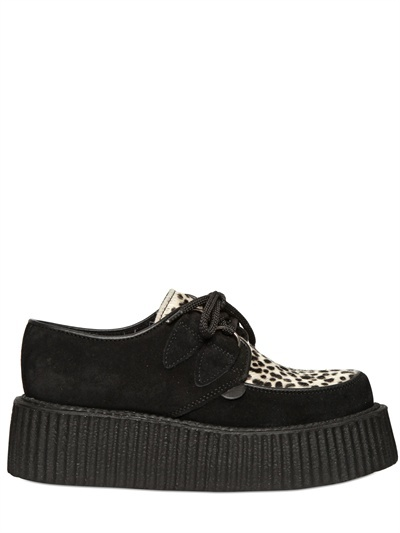 Underground 50mm Suede Pony Creeper Wedges
