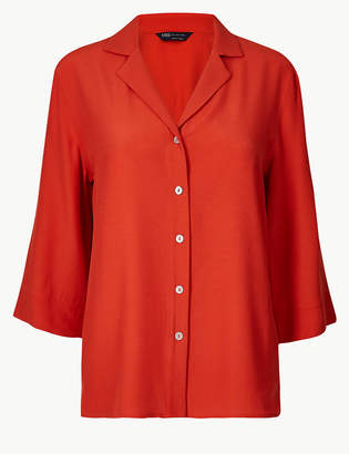 Marks and Spencer Button Detailed 3/4 Sleeve Shirt