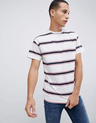 New Look oversized stripe t-shirt in gray
