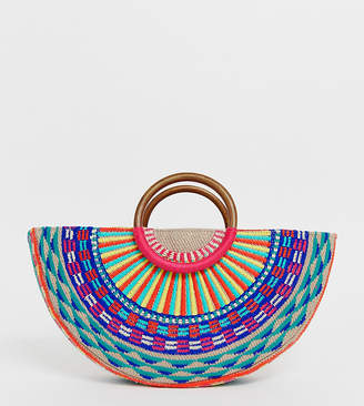 Accessorize Magerita woven embroidered moon grab clutch bag with wooden handle