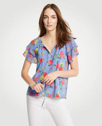 Ann Taylor Island Floral Tiered Ruffle Sleeve Top