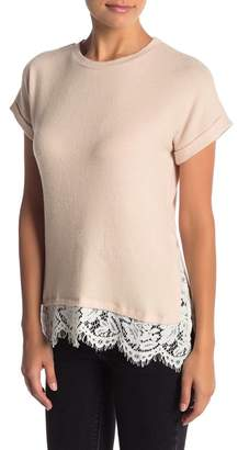 Bobeau Lace Trim Short Sleeve Tee (Regular & Petite)