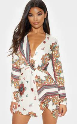 PrettyLittleThing White Printed Silky Long Sleeve Wrap Dress