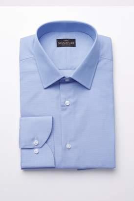 Mens Blue Signature Slim Fit Single Cuff Textured Shirt