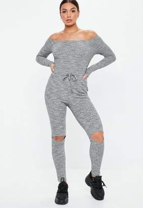 Missguided Gray Rib Bardot Long Sleeve Romper