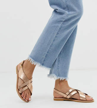 95c2e8493 Head Over Heels By Dune Exclusive Larra rose gold cross over multi strap toe  post sandals