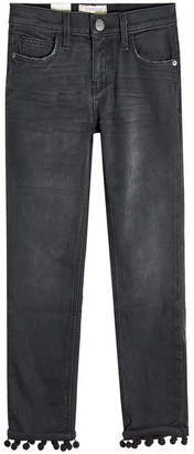 Current/Elliott Cropped Straight Jeans with Pom-Pom Trim