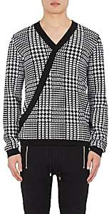 Balmain MEN'S HOUNDSTOOTH WOOL SURPLICE SWEATER-WHITE SIZE S