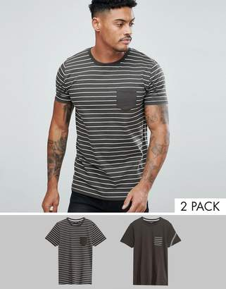 Brave Soul 2 Pack Stripe And Plain T-Shirt