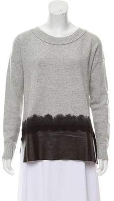 Andrew Marc Leather-Accented Wool Sweater