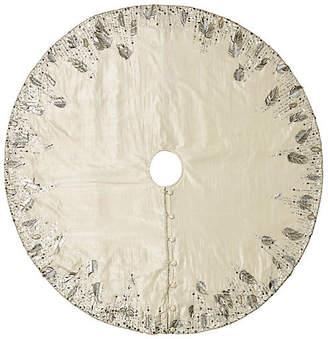 """Kim Seybert 64"""" Quill Tree Skirt - Silver/Crystal"""