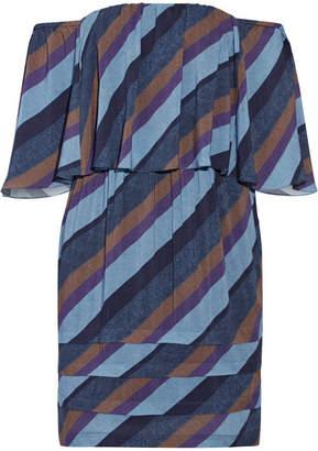 Vix - Ivy Off-the-shoulder Striped Voile Mini Dress - Blue $250 thestylecure.com