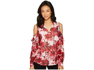 Calvin Klein Printed Ruffle Cold Shoulder Blouse Women's Blouse