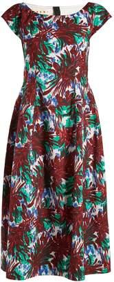 Marni Boat-neck leaf-print midi dress