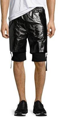 Helmut Lang Double-Layer Shorts, Black $345 thestylecure.com