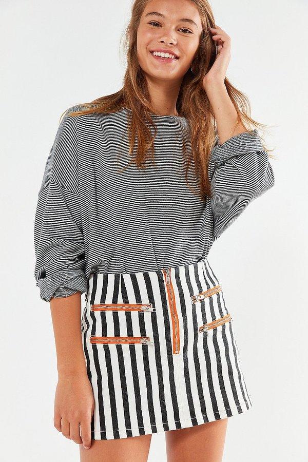 BDG Striped Contrast Zipper Mini Skirt