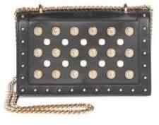 Balmain Pearl Embellished Leather Crossbody Bag