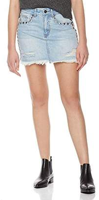 Parker Lily Women's Distressed Rivet Beading Denim Short Mini Skirt 26
