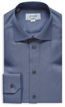 Eton Contemporary-Fit Diagonal Textured Twill Dress Shirt