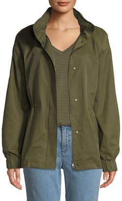 Eileen Fisher Organic Cotton-Nylon Utility Jacket with Hidden Hood