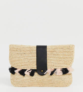 Maison Scotch Exclusive Wicker Clutch With Tassles