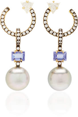 Jemma Wynne 18k gold pave hoops with tahitian pearl drops