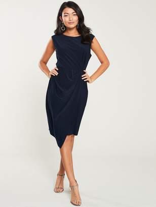 Wallis Ruched Side Shift Dress - Navy