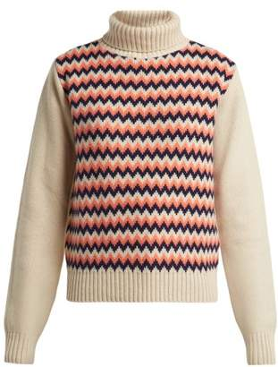 A.P.C. Directrice Merino Wool Roll Neck Sweater - Womens - Cream Multi