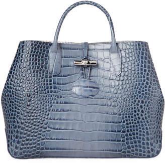 Longchamp Pilot Blue Roseau Croc-Embossed Shoulder Bag