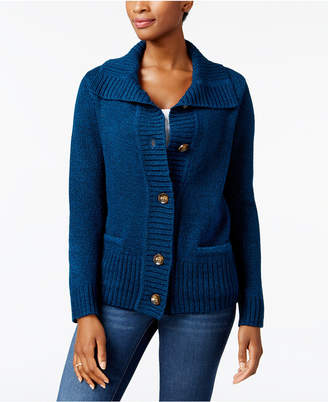 Karen Scott Button-Front Shawl-Collar Cardigan