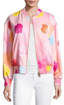 Boutique Moschino Fantasy Floral-Print Bomber Jacket, Pink $895 thestylecure.com