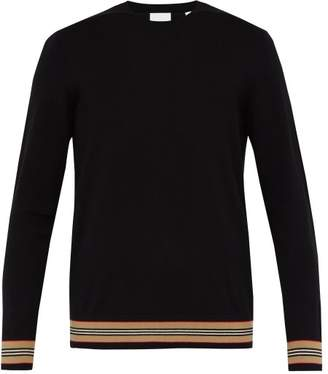 Burberry Icon Stripe Wool Sweater - Mens - Black