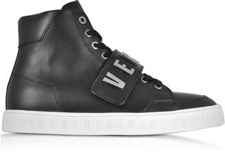 Versace Versus Black Metal Logo Band High Top Men's Sneakers