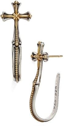 Women's Konstantino 'Hebe' Cross J-Hoop Earrings $500 thestylecure.com