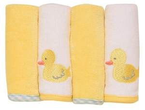 Little Me Set of Four Velour Washcloth Towels