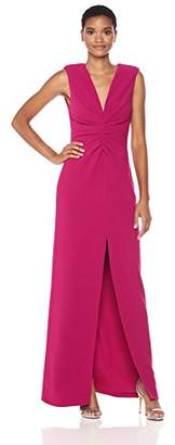 Halston Women's Cap Sleeve V Neck Ruched Front Gown