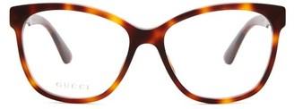 Gucci Crystal Embellished Square Frame Acetate Glasses - Womens - Tortoiseshell