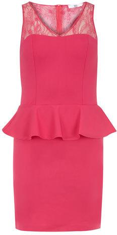 Dorothy Perkins True decadence Pink lace detail peplum dress