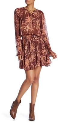 Scotch & Soda Tropical Print Chiffon Lace-Up Dress with Necklace