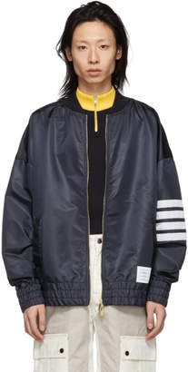 Thom Browne Navy Ripstop Oversized 4-Bar Bomber Jacket