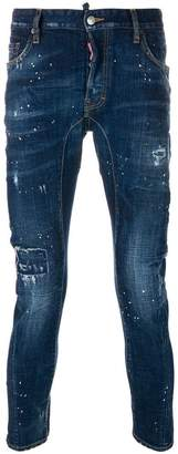 DSQUARED2 cropped paint splatter jeans