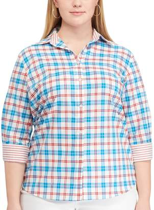 Chaps Plus Size Striped No-Iron Broadcloth Shirt
