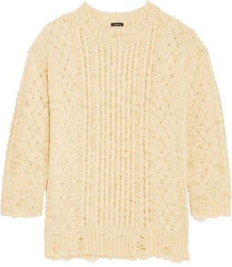 R 13 Oversized Distressed Cable-knit Wool Sweater - Cream