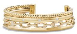 David Yurman Stax Medium Cuff Bracelet with Diamonds in 18K Gold $9,800 thestylecure.com