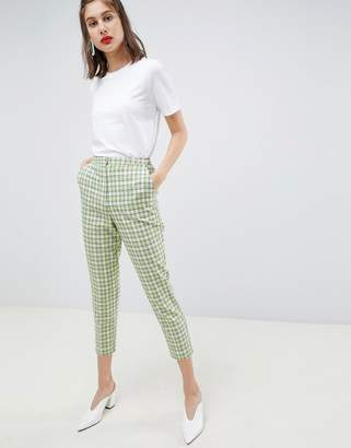 Asos Design DESIGN tailored slim trousers in yellow and green check