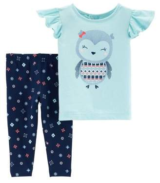 Carter's Child of Mine by Short Sleeve Ruffle T-Shirt & Leggings, 2-Piece Outfit Set (Toddler Girls)