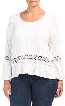 Plus Long Bell Sleeve Top With Lace